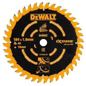 DeWALT DT1670-QZ medium mitre saw blades designed for use with DeWALT DCS365 cordless mitre saw. Ultra sharp teeth on this miter saw blade  help reduce material tear out. So, the mitre saw blade has optimised grind angles to help give a top quality finish. Made from carbide for long life. Finally, laser cut expansion slots give a smoother cut and produce less vibrations. Ideal saw blade for sawing in MDF, plywood and natural wood