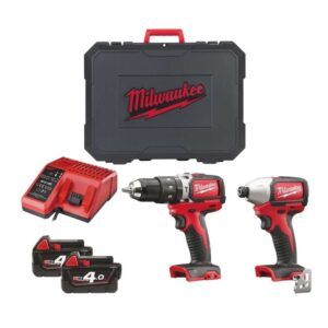 Milwuakee M18BLPP2B-402C Brushless Twin Pack Drill & Impact Driver 18V 4amp