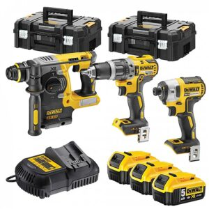DeWALT DCK368P3T-GB Power Tool Kit Impact Driver, SDS & Hammer Drill 3 x 5amp