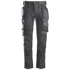 Snickers Black Canvas+ Trousers Holster Pocket Workwear 321404