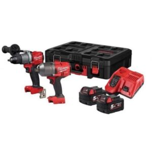 Milwaukee M18FPP2I2-502P Impact and Combi Drill Kit 18volt 1/2dr