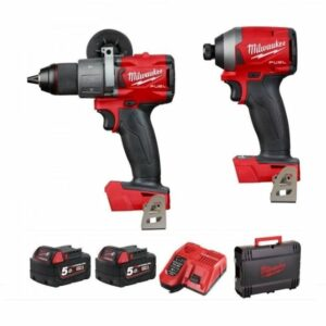 Milwaukee M18FPP2A2-502X M18 FPD2 Hammer Drill & M18FID2 Impact Driver Kit 18V 2x5amp batteries