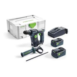 Festool 575698 SDS Hammer Drill is a cordless compact BHC 18. Comes with 2 x BP 18 Li 5.2 ASI Battery pack, rapid charger TCL 6, additional side mounted hand grip, depth stop in a SYSTAINER SYS 2 T-LOC